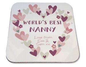 Personalised Printed Coaster Nanny Nan Mum Heart Wreath pretty Birthday gift