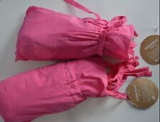"""Pottery Barn Teen Twisted Sheer Panel Drape Curtain Bright Pink 63"""" S/ 2 #241"""