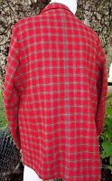Eddie Bauer Tartan Plaid Wool Blazer Jacket Size Large Lined with Pockets Red