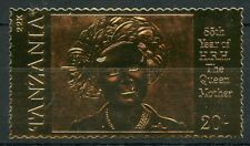 TANZANIA  85th BIRTH ANNIVERSARY OF THE QUEEN MOTHER II  22K GOLD FOIL STAMP