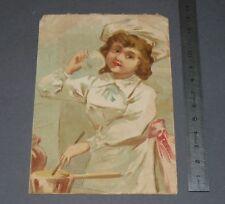 CHROMO 1890-1910 GRANDE IMAGE BON-POINT ECOLE CUISINIERE AUX FOURNEAUX