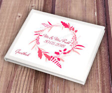 Personalised Pink Wreath Design White Wedding Guest Book