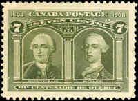 Mint NG Canada F-VF Scott #100 7c 1908 Quebec Tercentenary Stamp