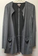 Chico's 1 Women's S Faux-Suede Open Draped Front Blazer Jacket Gray