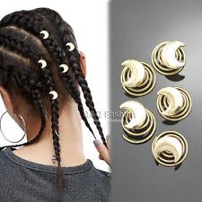 5Pcs Gold Moon Spiral Rasta Mambo Beads Dreads Hair Pin Dress Clip Dreadlocks W1