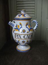 Ancien pot couvert pichet à pharmacie Pix Cadi Huile de Cade Vichy signé Tess.