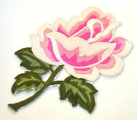 PINK PEONY FLOWER BLOOM ROSE Embroidered Iron Sew On Cloth Patch Badge  APPLIQUE