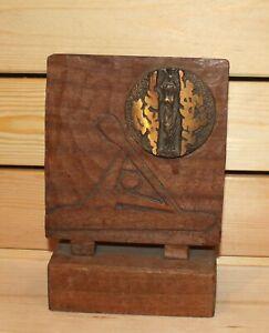 Vintage hand carved wood/bronze desk statuette Nike