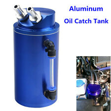 Blue Aluminum Universal Auto Car Engine Oil Catch Tank Reservoir Breather Can