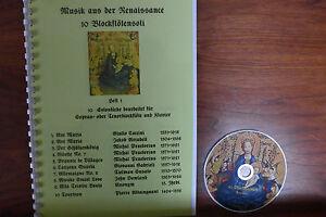 Noten+CD für Blockflöte, 10 Blockflötensoli mit Renaissance -Musik Flöte+Tasteni