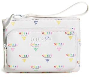 NEW GUESS Women's Naya White Rainbow Logo Large Zip Wallet Wristlet Pouch Clutch