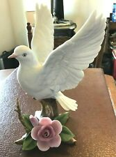 Andrea-By Sadek, White Dove With Pink Rose Figurine, 7901, 1987