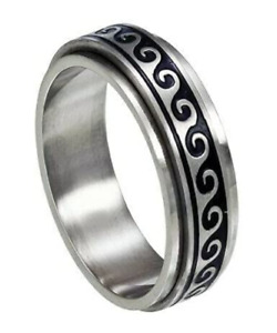 Stainless Steel Wave Anxiety Spinner Ring Meditation Fidget Silver Ring 6mm