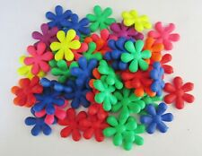 50 x Neon Bright Coloured Rubberised Acrylic Flower 22mm Beads