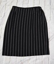 Armani Collezioni 8 Italy Black White Stripe Wool Lined A Line Skirt