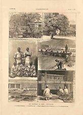 Frontière Inde Peshawar Marché aux Soies Fabrication Tapis Prison GRAVURE 1885