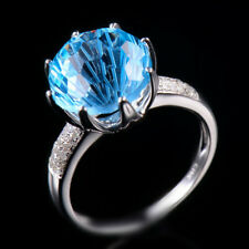 Solid 10K White Gold 8.0CT Natural Round Blue Topaz Diamond Ring Jewelry