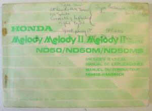 HONDA Melody Melody II / Deluxe Scooter Owners Handbook 1982 #36GC200 Multi Lang