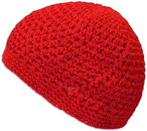100% Cotton KUFI Crochet Beanie Skull Cap Knit Hat Men Women 12 Colors NEW 632