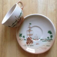 1940s 1950s PIRATE SHIP AIRBRUSHED RESTAURANT WARE CUP & SAUCER, JACKSON JAC-TAN