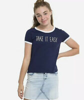 Justice Girl's Size 8 TAKE IT EASY Ringer Tee New with Tags
