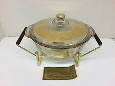 Vintage FIRE KING Culver CORONET Chafing Casserole Warming Dish w/Stand Gold