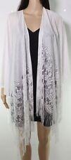 Accesory St Womens Sweater Classic White Size OS Fringe Hem Kimono $34 947