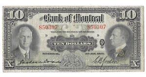 1937 Bank of Montreal 10 Dollar Bill