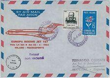 ITALIA storia postale - PRIMI VOLI - catalogo PELLEGRINI 543BA: LUFTHANSA 1964
