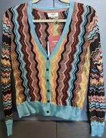 Missoni Target women's M Colore Zig Zag V Neck Button Front Cardigan Sweater NWT