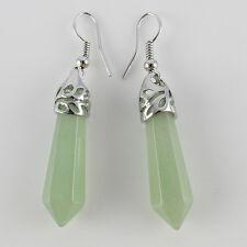Amethyst Rose Quartz Turquoise Hexagonal Point Silver Hook Dangle Earrings 1Pair