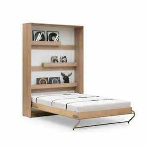 Vertical DOUBLE Wall Bed With Shelves Murphy Bed Fold-down Bed Space Saving Bed