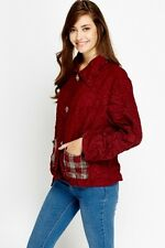 Womens Crinkled Casual Maroon Color Jacket With Tartan Check Pocket Size 8-10
