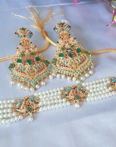 Pakistani Gold Plated Hyderabadi/ 9 RATAN Choker With EARRINGS with Pearl