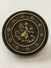 Antique Picture Button Of An Art Nouveau Flower Fairy Pouring Cup Of Nectar 31mm