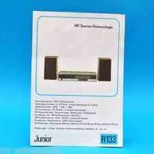 JUNIOR HF-STEREO-HOME appendice 1976 prospetto Pubblicità DDR radio sabbia maschio r133 C