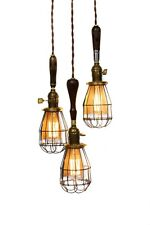 3 Light Caged Farmhouse Vintage Wood Handle Caged Trouble Light Chandelier