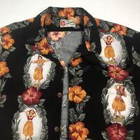 Hilo Hattie Large Mens Aloha Hawaiian Original Shirt Hula Girls & Floral Print