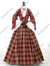 Victorian Plaid Dickens Caroler Dress Gown Pioneer Woman Halloween Costume 158