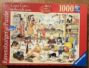 Ravensburger 1000 piece jigsaw puzzle 'Crazy Cats in the craft room
