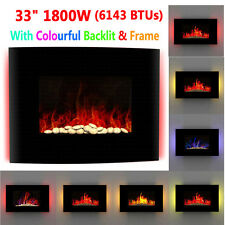 1800W Wall Mounted Electric Fireplace Fire Burning Remote Control LED Backlit