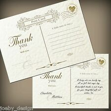 10 Vintage thank you cards / notes with envelopes, Ivory hammered texture card