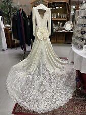 Nina Balducci Wedding Dress Sz 6 White Lace w Sequins Pearls Lined Excellent