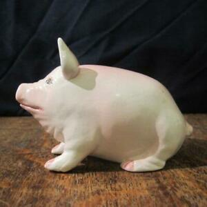 SMALL VINTAGE BRIAN ADAMS EXON WEMYSS WARE POTTERY PINK PIG