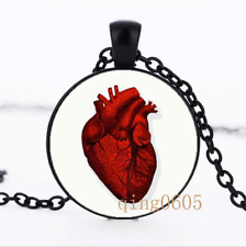 Red Anatomical Heart Glass Dome black Chain Pendant Necklace wholesale