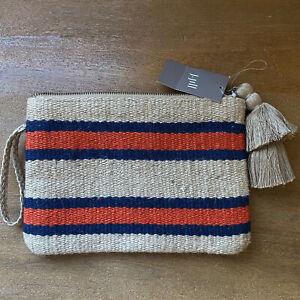 NWT J. Jill Summer Jute Casual Natural Hemp Cotton Clutch Bag Tassel Stripe Zip