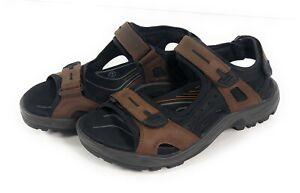 Ecco Yucatan Hiking Sport Sandals Mens US 8.5 EU 42 Leather Brown Trail Shoe