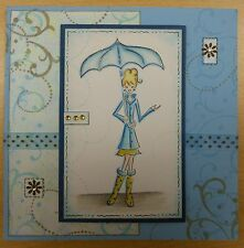 Lady/Girl in the Rain Umbrella Mimi Rubber Stamp - Wood Mounted