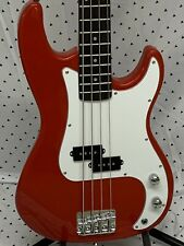 Bright Red Standard Precision Electric Bass Guitar and Accessories