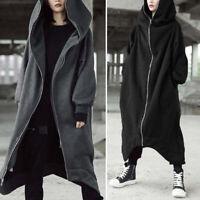 Women's Winter Irregular Hooded Knit Sweater Cardigan Outwear Long Coat Jacket